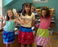 Trying on their new handmade skirts