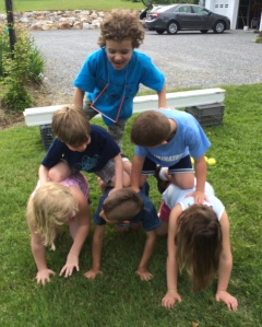 Making a human pyramid!