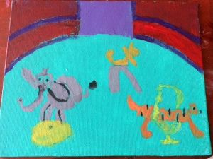 Painting made by 6 year old at circus camp